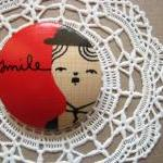 wooden brooch hand painted ..