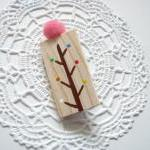 Hand painted wooden brooch ..