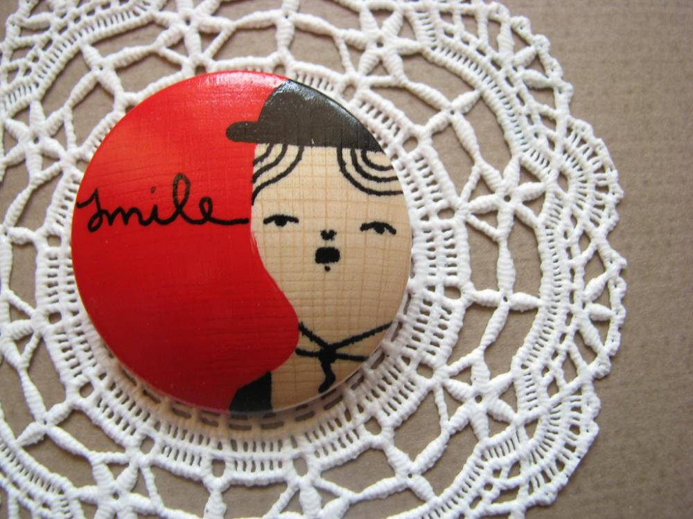 wooden brooch hand painted Charlie Chaplin Smile illustrated jewelry wereable art