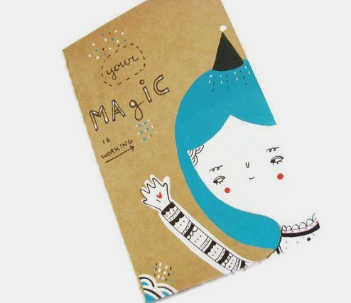 Hand painted OOAK Moleskine journal pocket size notebook cahier -Your magic is working