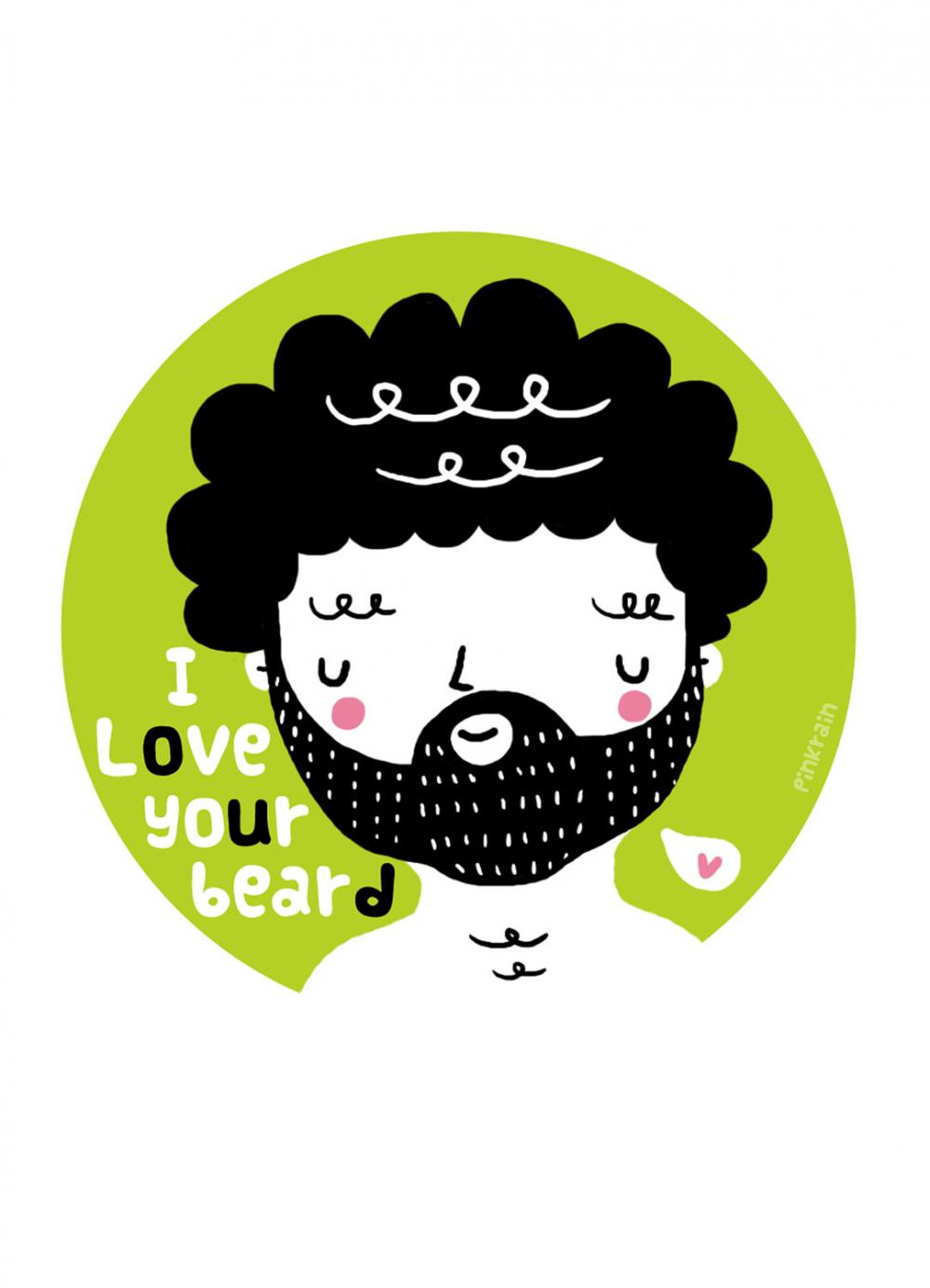 5&quot;x7&quot; print I Love Your Beard illustration wall art