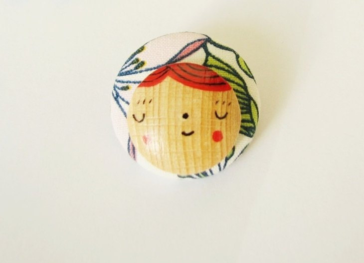 Miss Carrot Fabric Brooch - Mixed media Fabric covered brooch and handpainted wood
