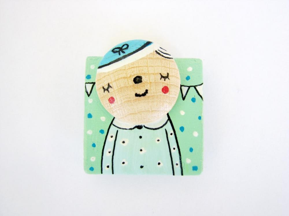 Granma Caterina - Hand painted wooden Magnet