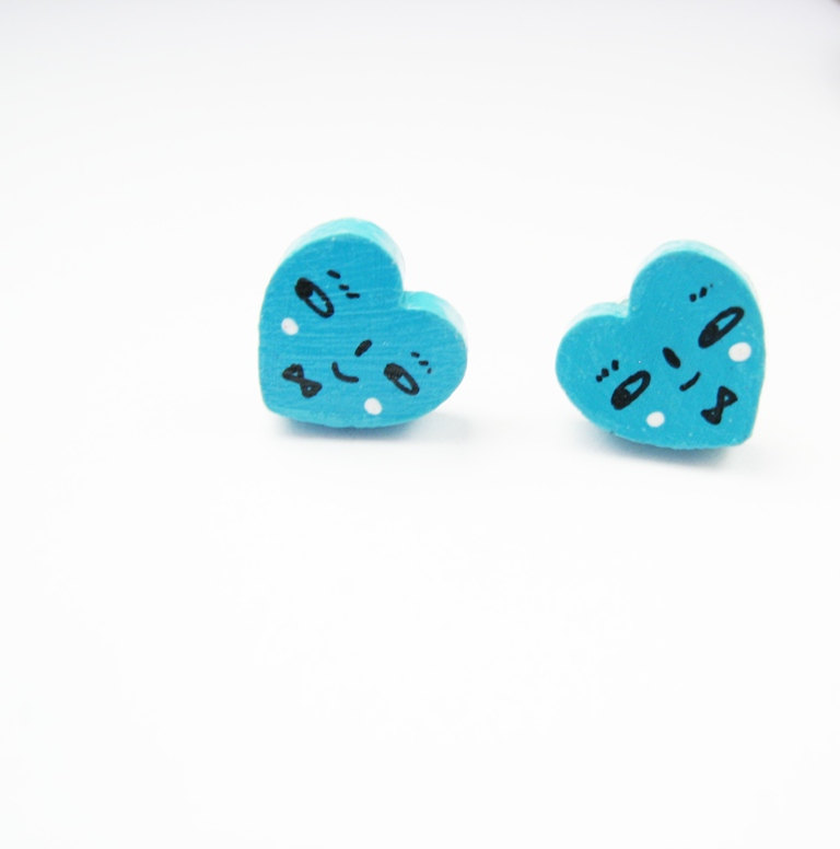 Turquoise wooden hearts Post Earrings