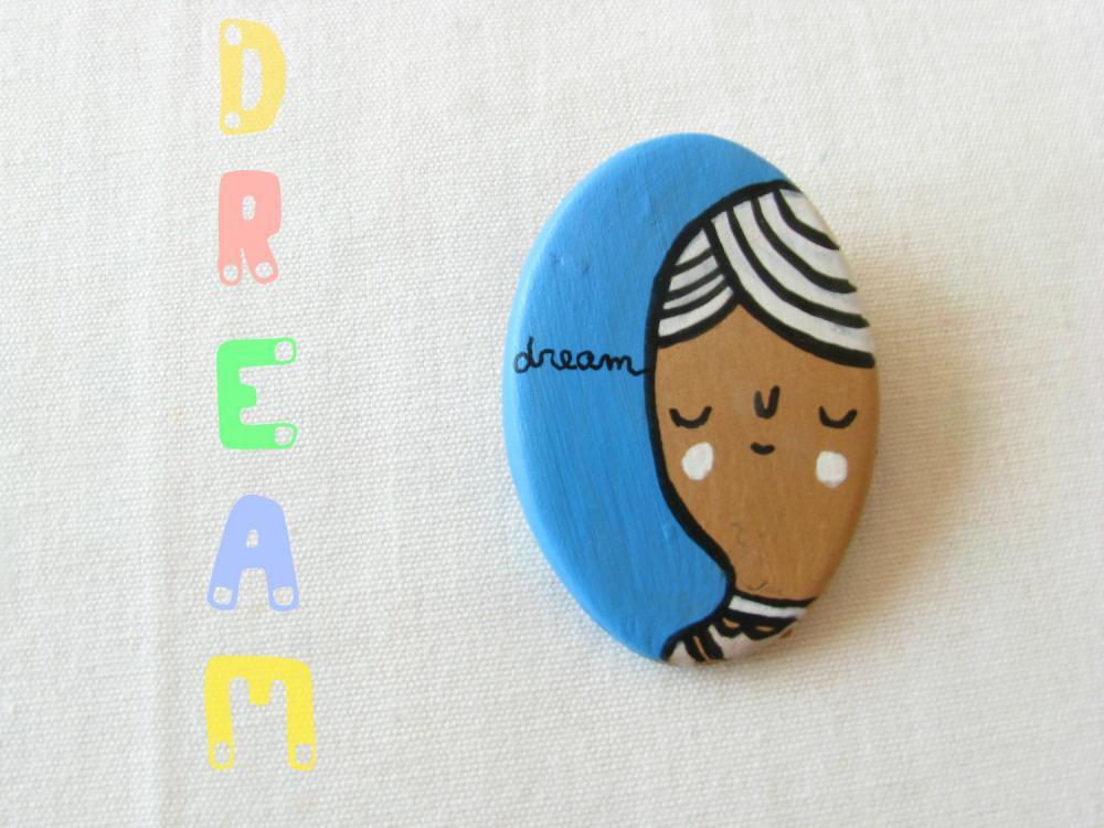 Dream brooch hand painted clay
