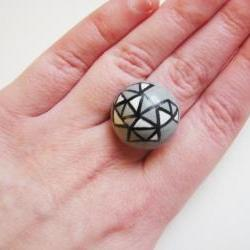 Grey triangles Hand painted wooden adjustable ring