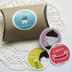 Sticker set - A4 sticker sheet with 13 assorted subjects - high quality lucid sticker paper - gift tag label