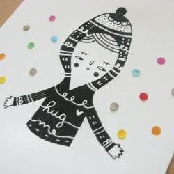 original mixed media screen printed illustration / collage with paper details home printed OOAK HUG ME